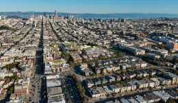 3333 California Street aerial perspective looking towards downtown