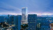 415 20th Street evening view along the Oakland downtown skyline, rendering from Hines