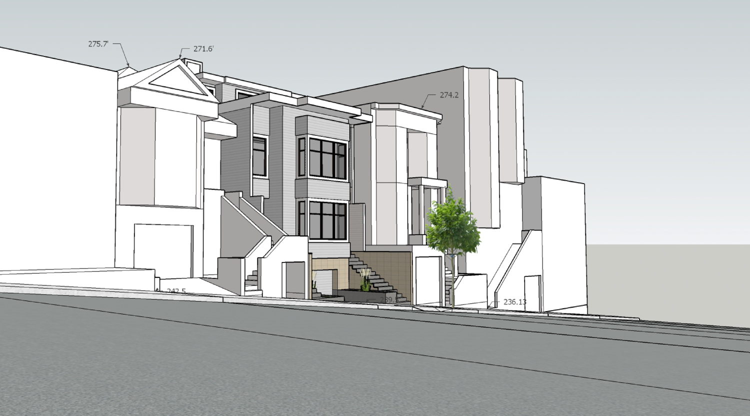 4234 24th Street view from across the street, rendering by E.E. Weiss Architects