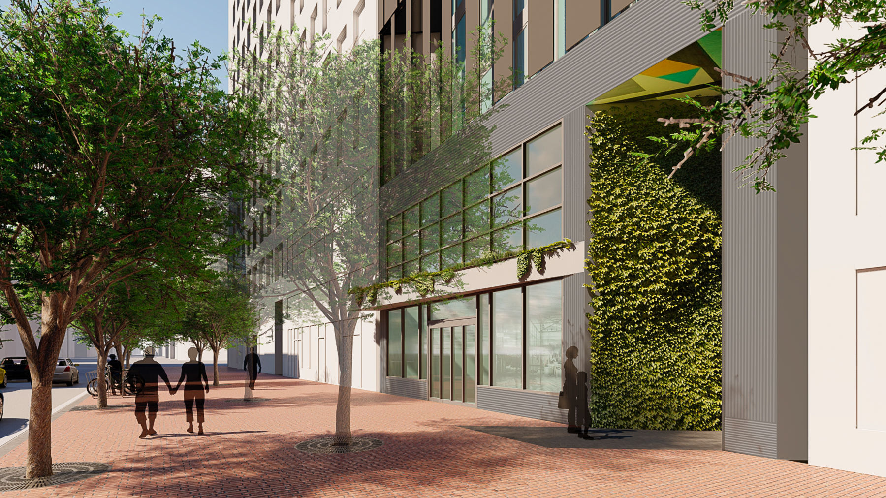 570 Market Street POPOS entrance, rendering by Danny Forster and Architecture