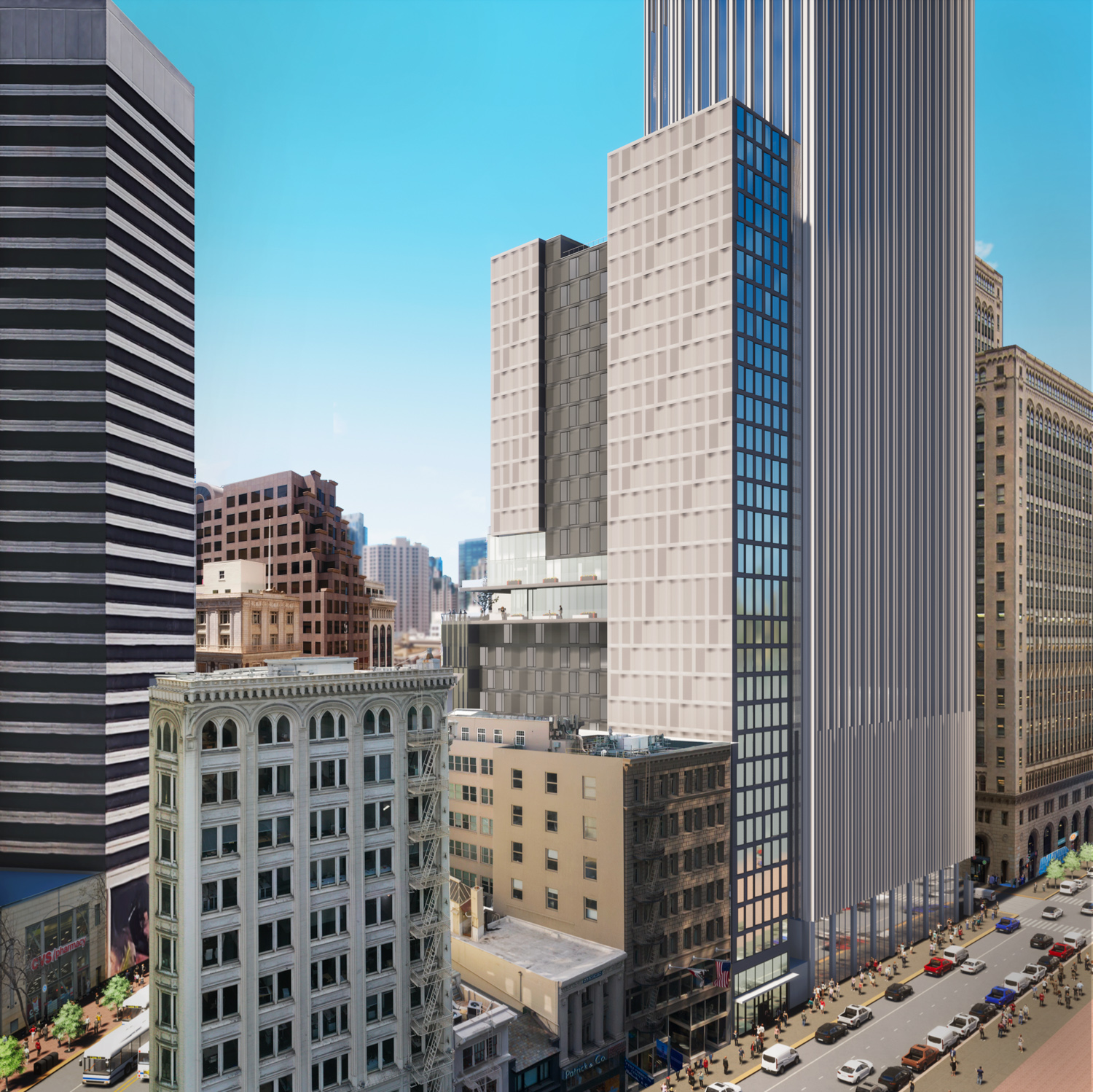 570 Market Street elevation side entrance abutting 44 Montgomery, rendering by Danny Forster & Architecture