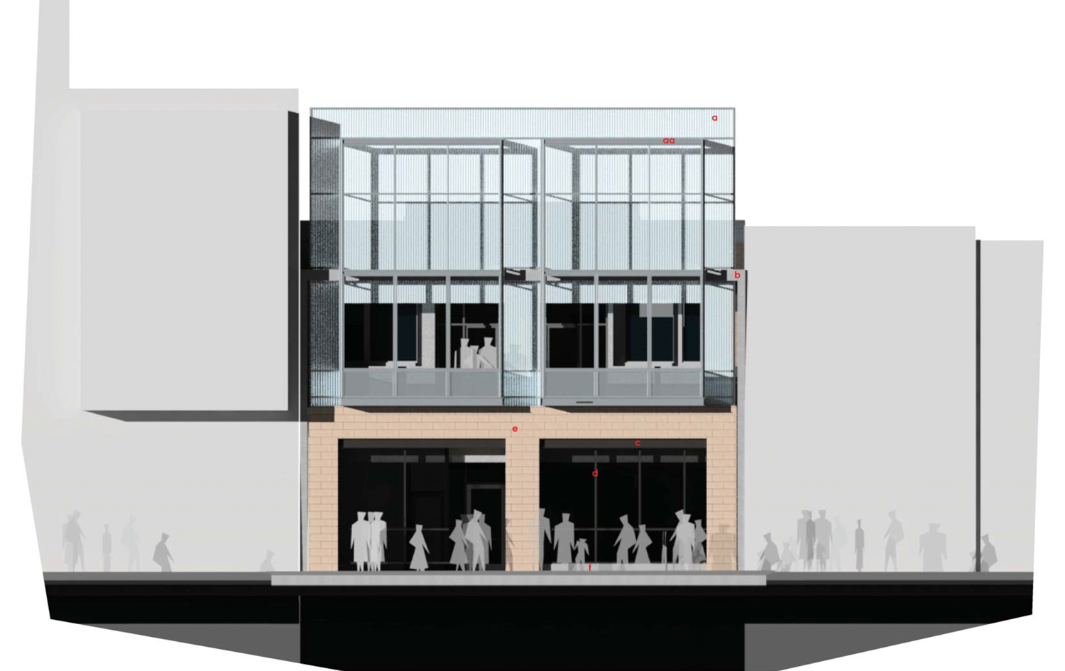 918 J Street facade elevation, image via Griffith Architects