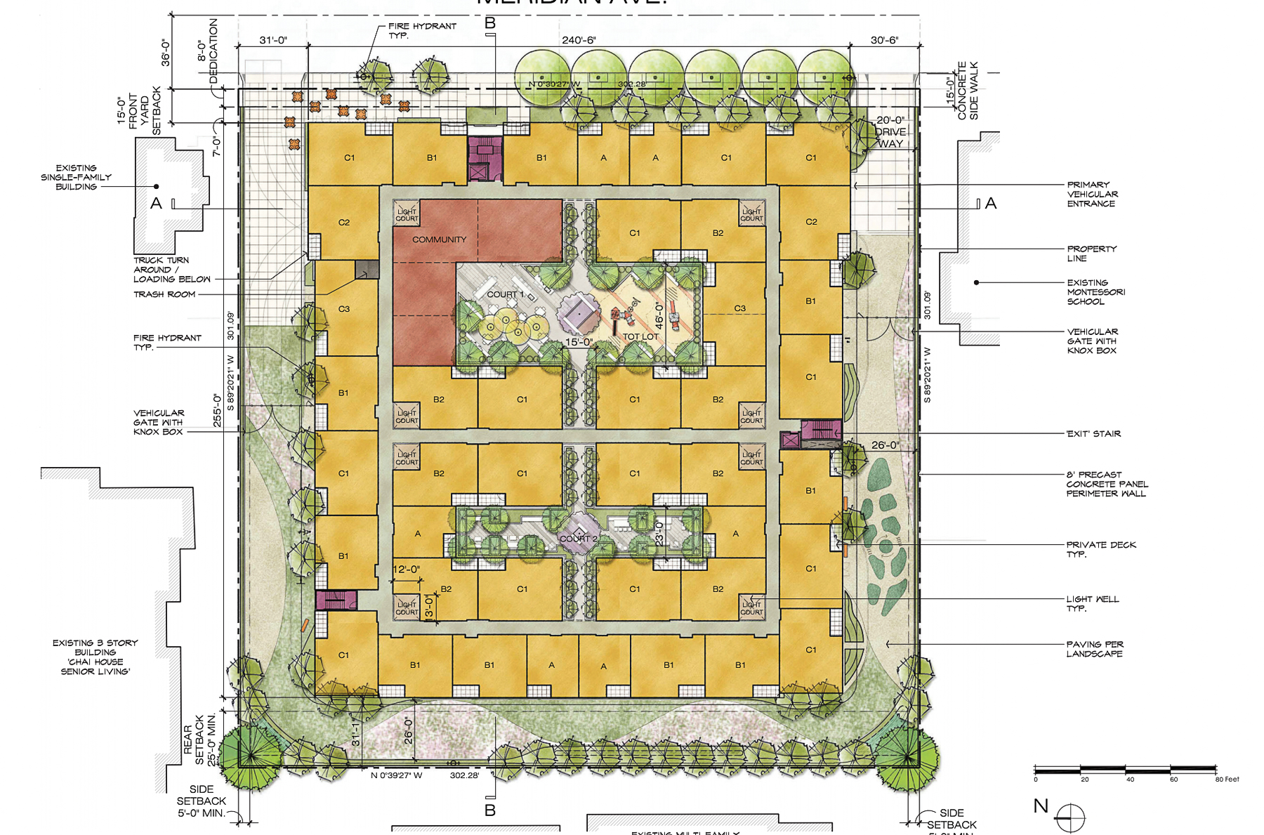 961-971 Meridian Avenue concept floor plan, illustration by Withee Malcolm Architects