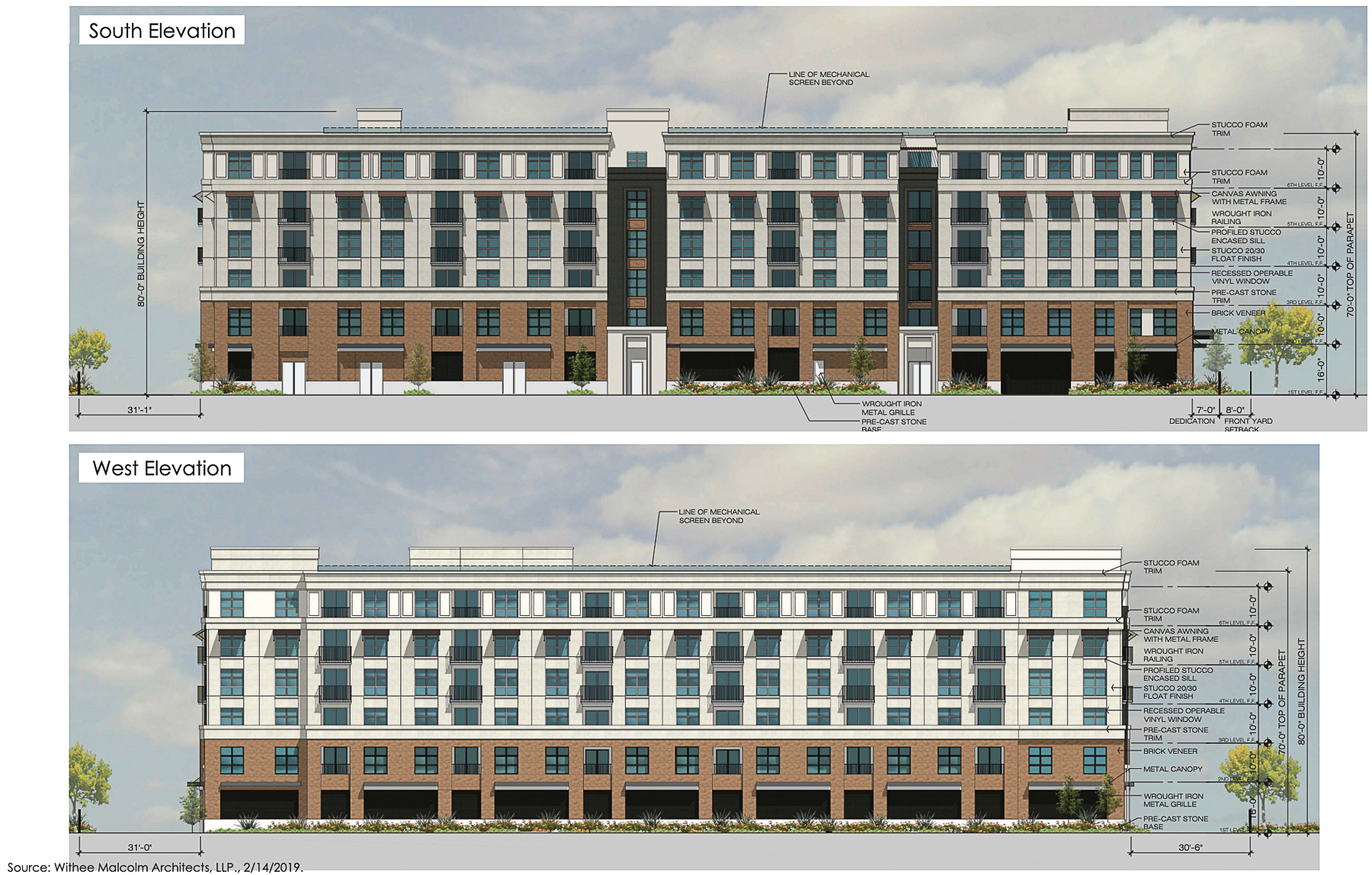 961-971 Meridian Avenue south and west facades, elevation by Withee Malcolm Architects