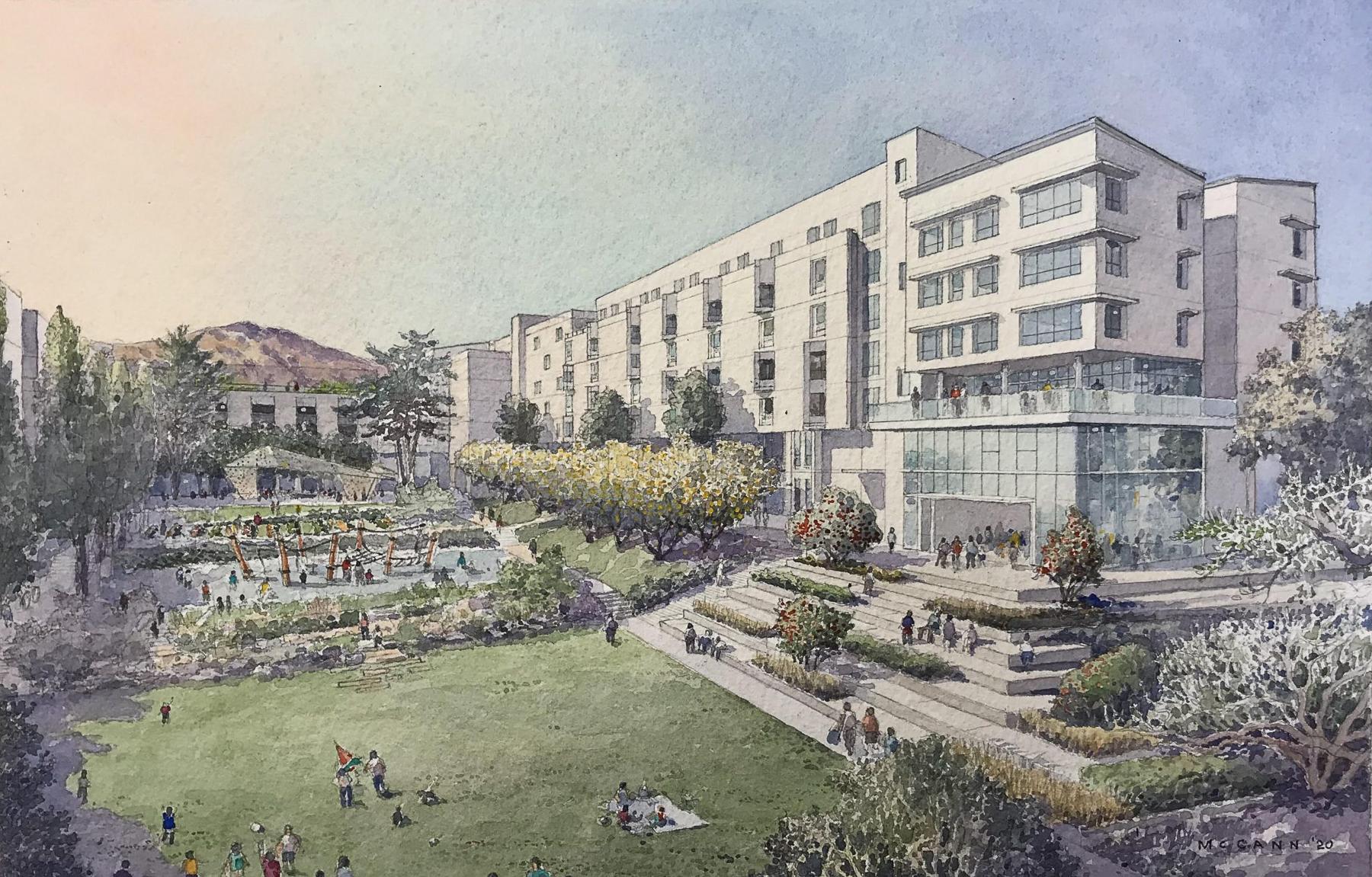 Balboa Reservoir development site focused around Reservoir Park, illustration from VMWP