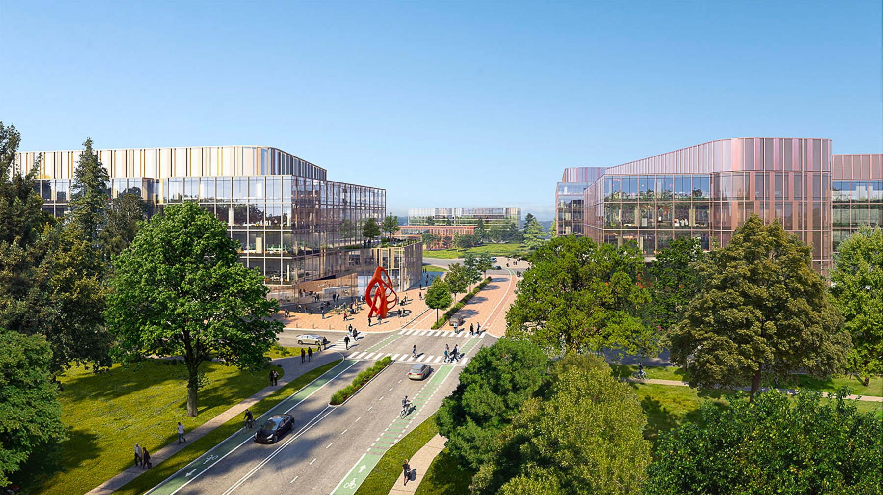Bayshore Tech Park view of the main road artery entering the campus, design by HOK and rendering by TMRW