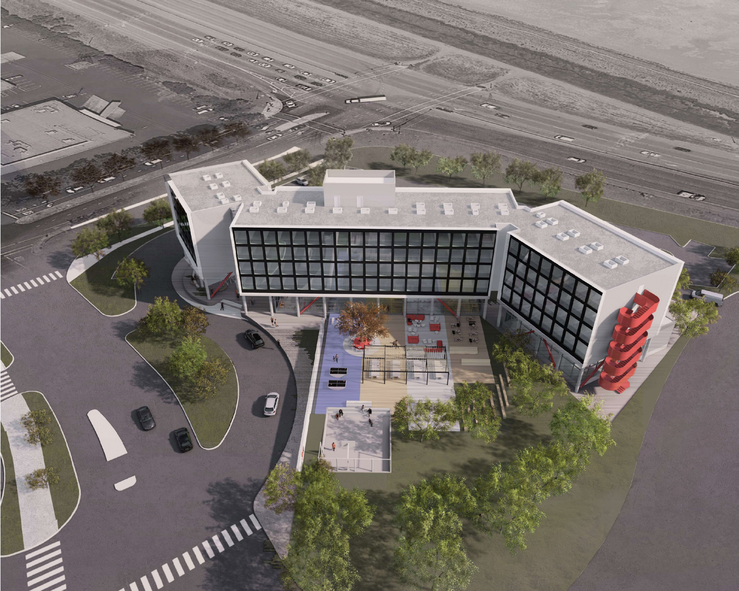 CitizenM Hotel at 3 Facebook Way aerial view, design by Gensler