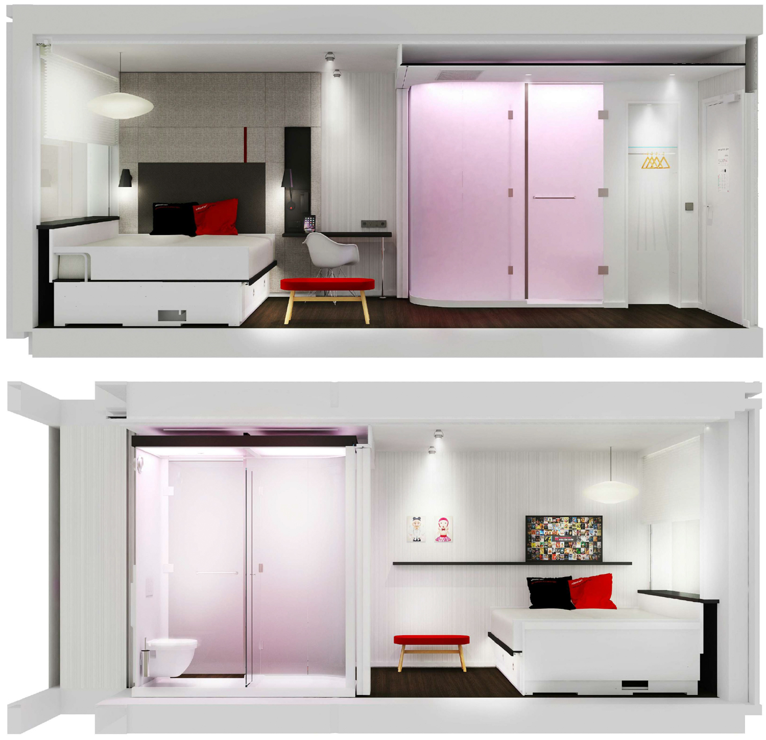 CitizenM Hotel at 3 Facebook Way street mock-up of guest rooms, design by Gensler