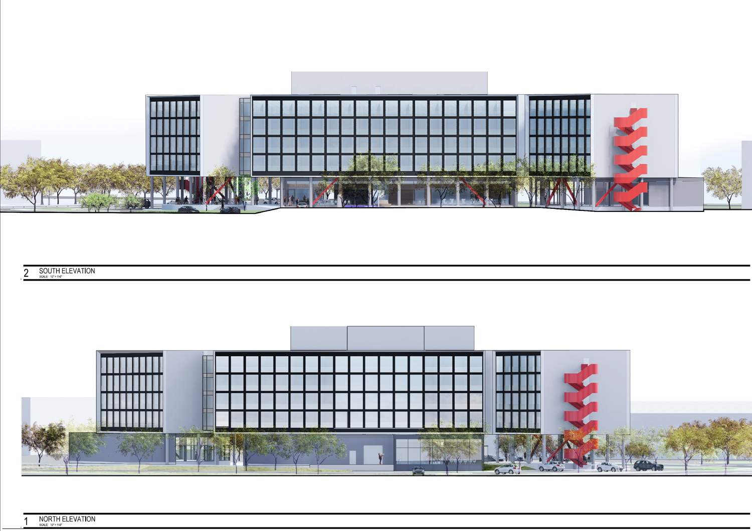 CitizenM Hotel at 3 Facebook Way street north and south face elevations, design by Gensler