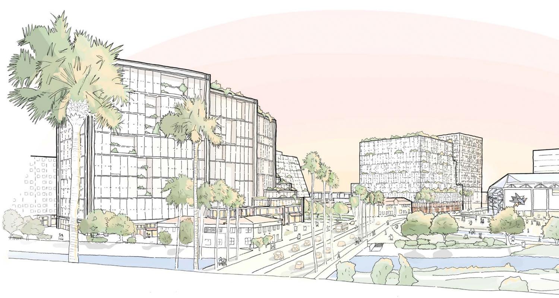 Downtown West concept skyline view, illustration via San Jose Planning Department