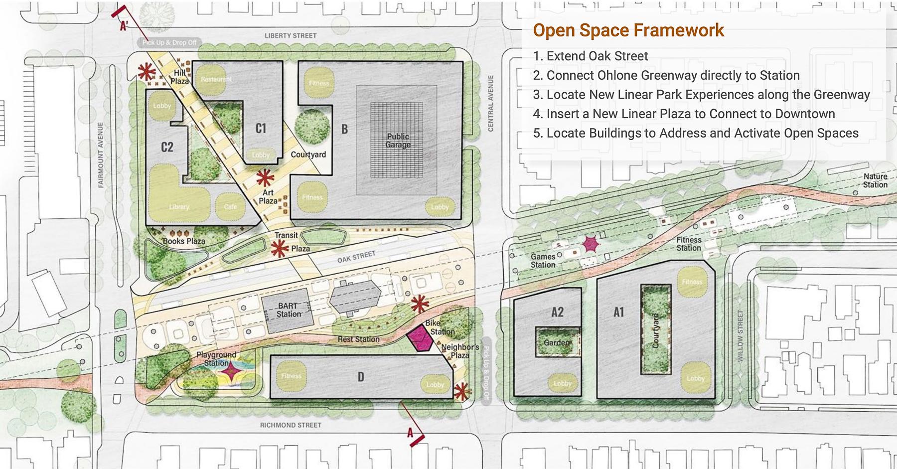 El Cerrito Plaza BART Station development floor plan, illustration via planning documents