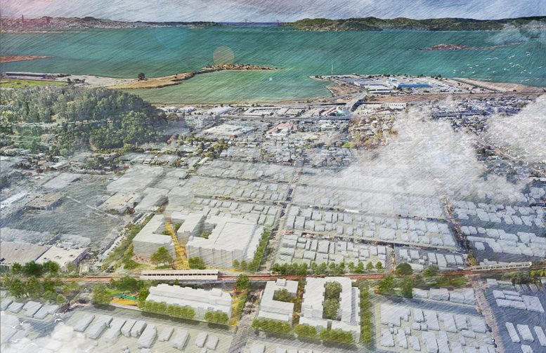 El Cerrito Plaza BART Station development, illustration via project plans