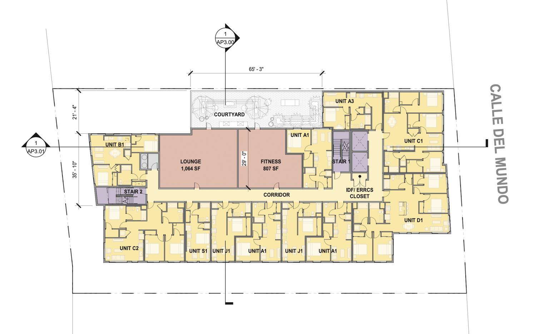 Floorplan of 2354 Calle Del Mundo redesign, design by BDE Architecture
