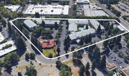 Hawthorn Apartments at 321 Bercut Drive in its existing condition, image via Google Satellite
