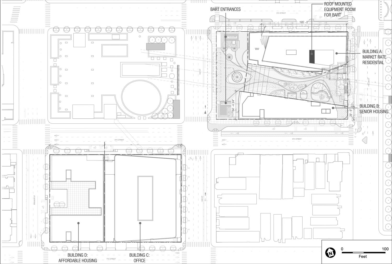 Lake Merritt BART mixed use project site plan, image via BKF