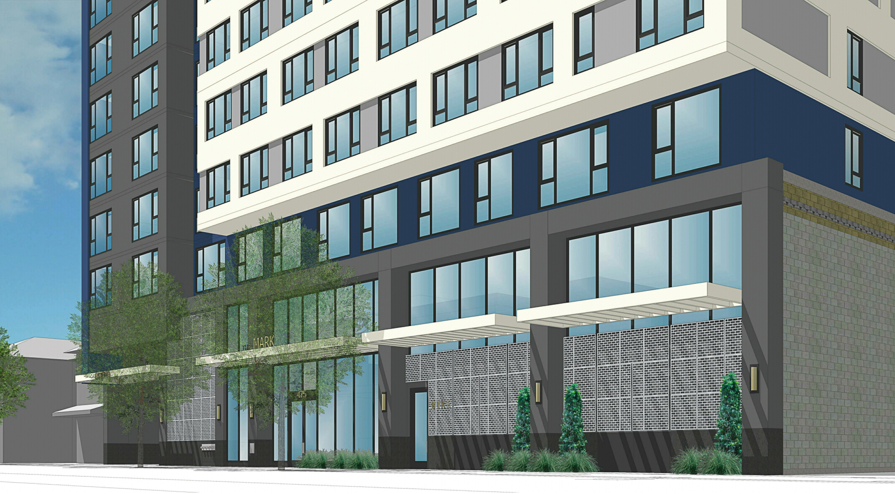 The Mark at 475 South Fourth Street lobby entrance, rendering by BDE Architecture