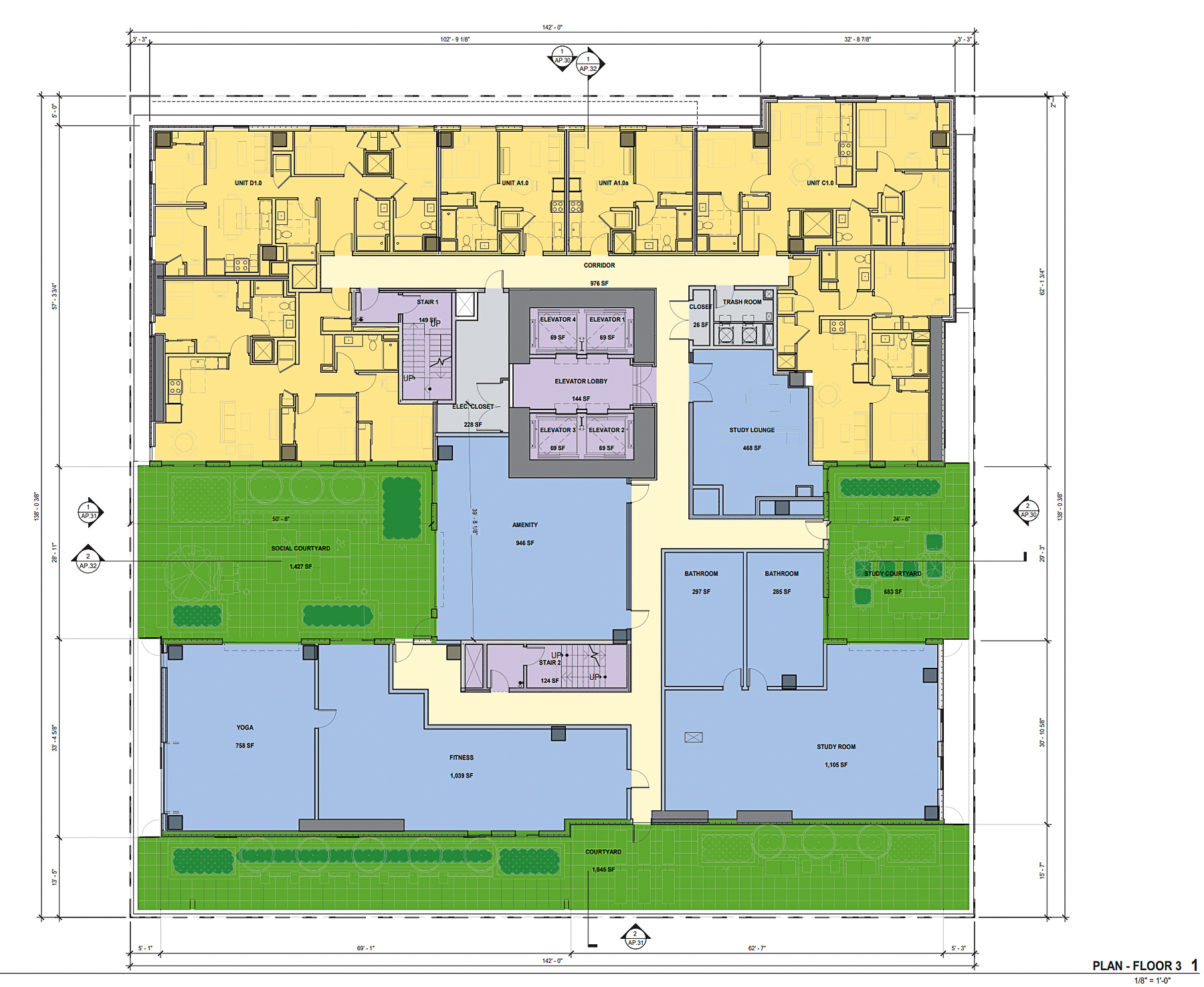 The Mark at 475 South Fourth Street third-level floorplan, rendering by BDE Architecture