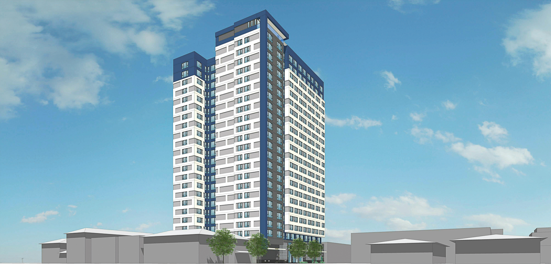 The Mark at 475 South Fourth Street tower view, rendering by BDE Architecture