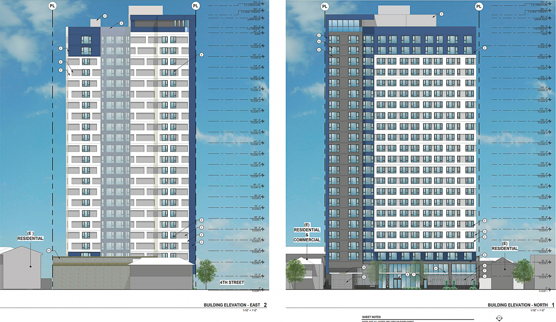 The Mark at 475 South Fourth Street vertical elevation, rendering by BDE Architecture