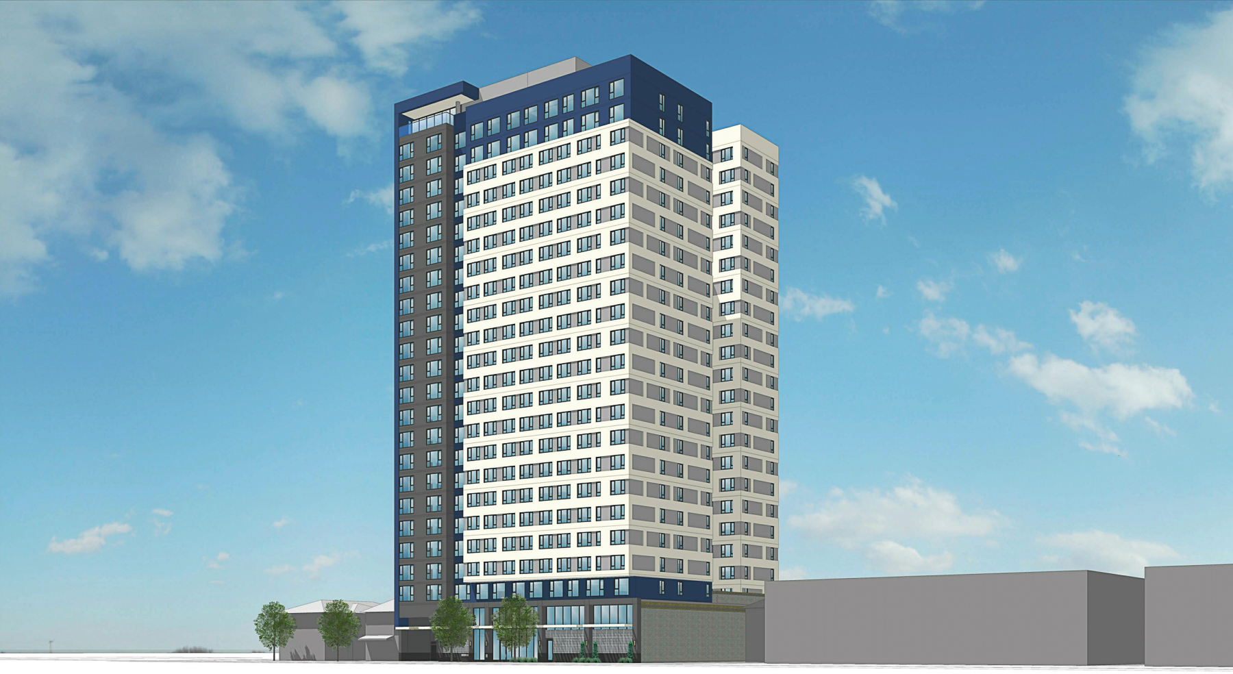 The Mark at 475 South Fourth Street view with lobby entrances, rendering by BDE Architecture
