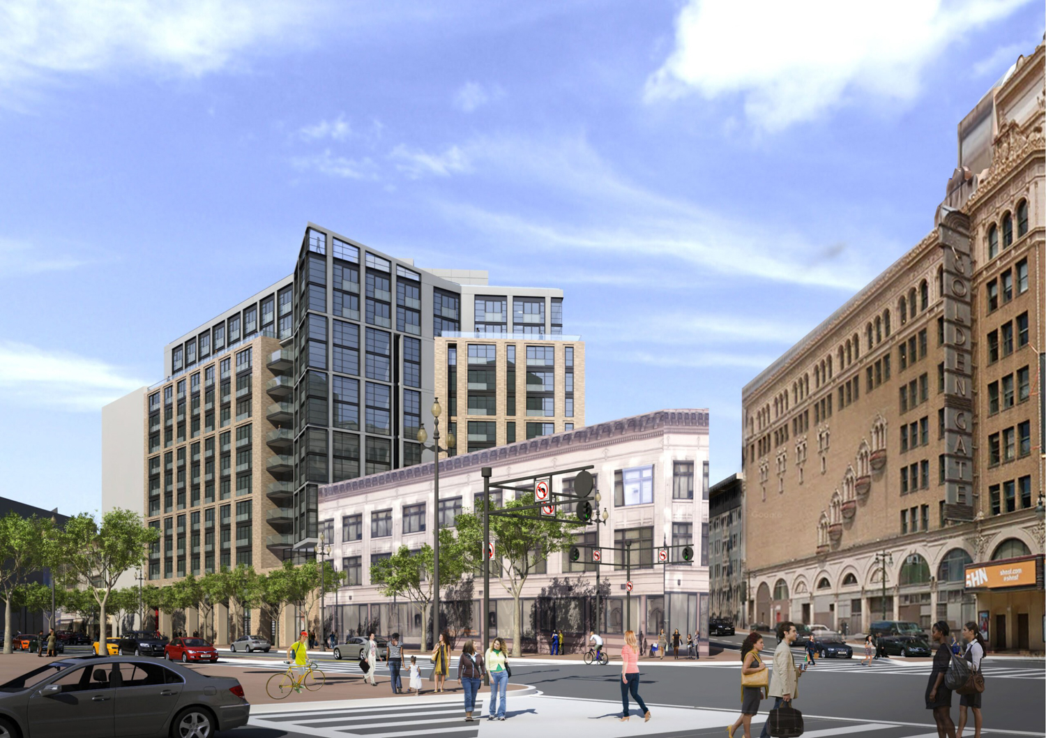 1028 Market Street main view, rendering of design by Solomon Cordwell Buenz