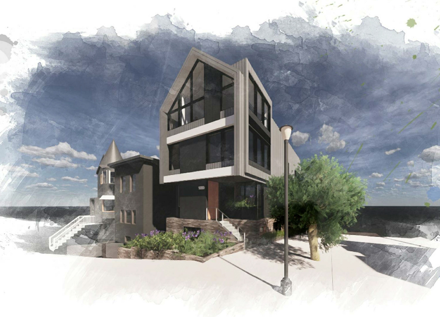 1099 Dolores Street, digital painting by Winder Gibson Architects