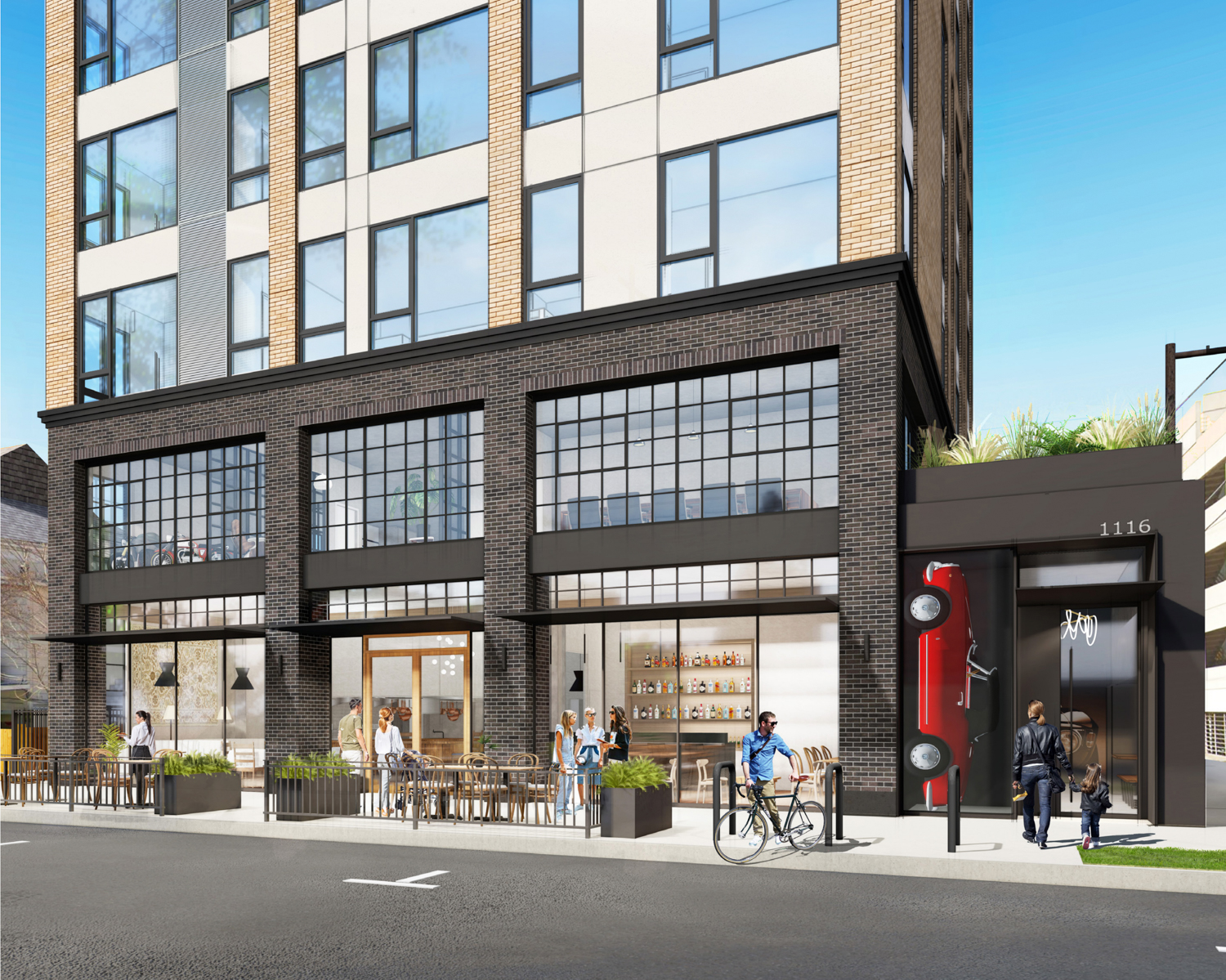 1116 18th Street ground-level retail and residential entrance, design by C2K Architecture