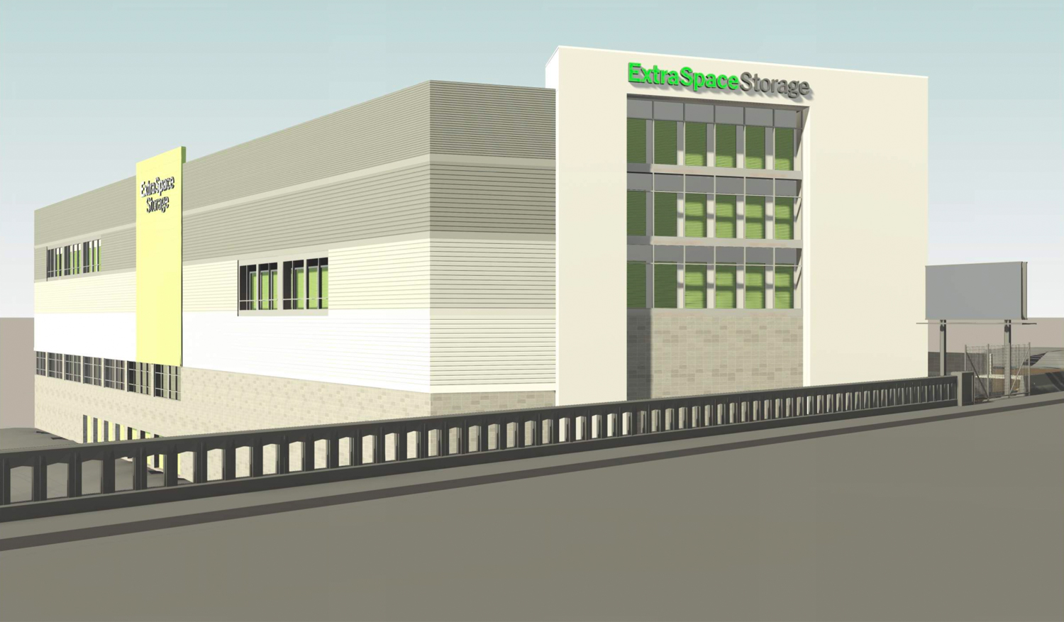 1700 Egbert Avenue Extra Space Storage from Williams Avenue, rendering by James Goodman Architecture