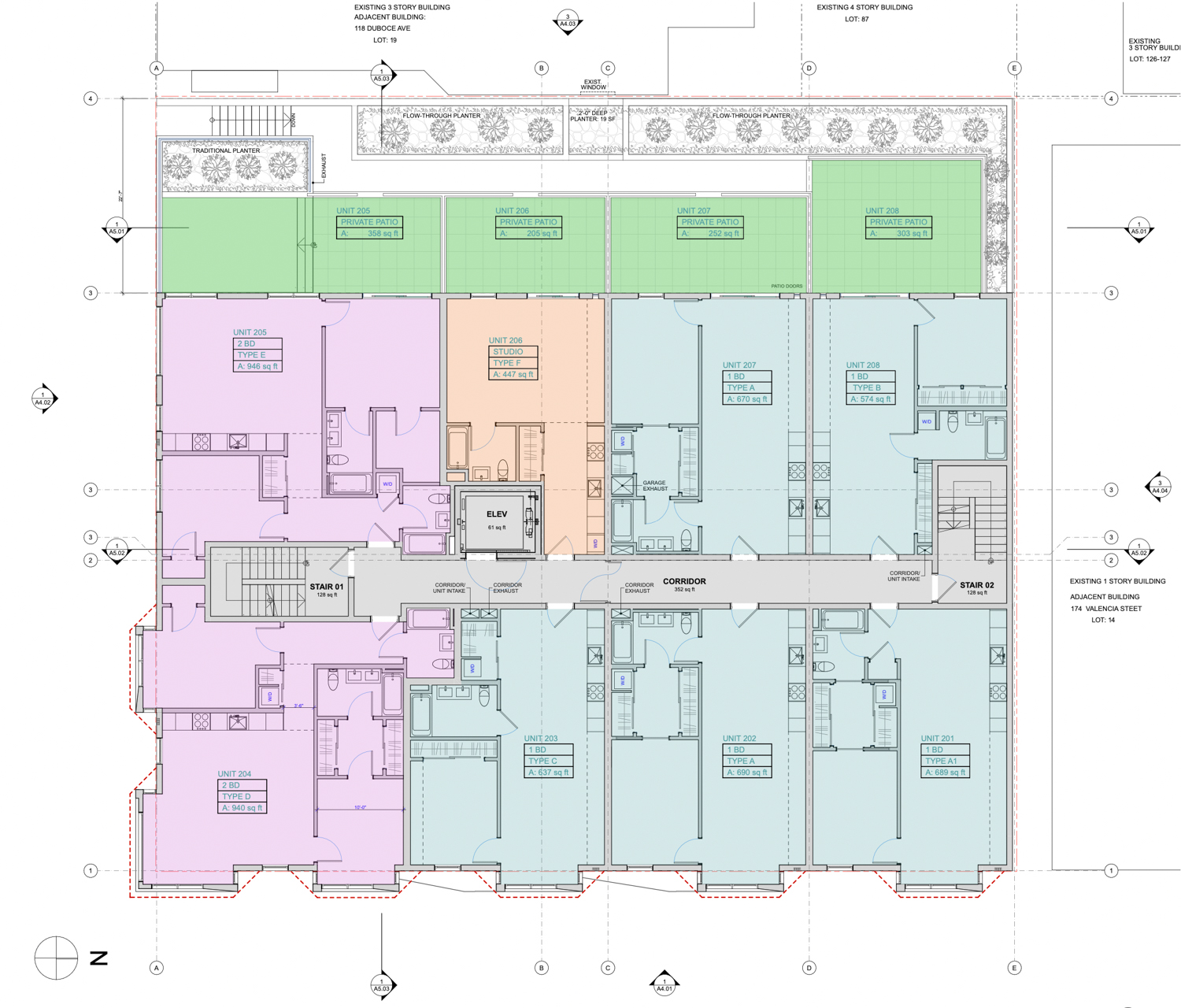 198 Valencia Street second-level floor plan, illustration by RG Architecture