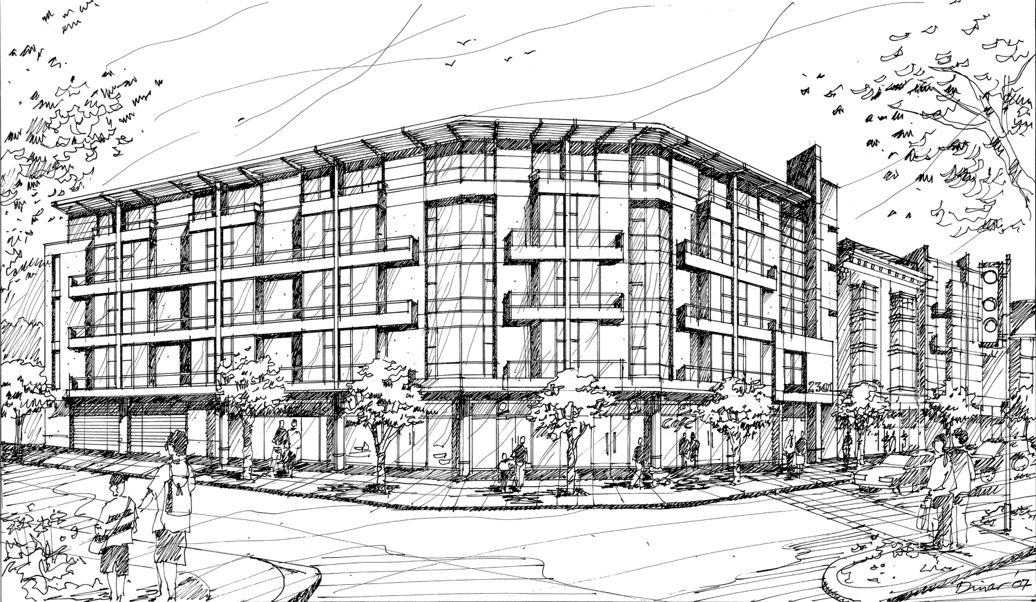 2311 San Pablo Avenue, 2007-era illustration reshared in 2020 with design by Dinar & Associates