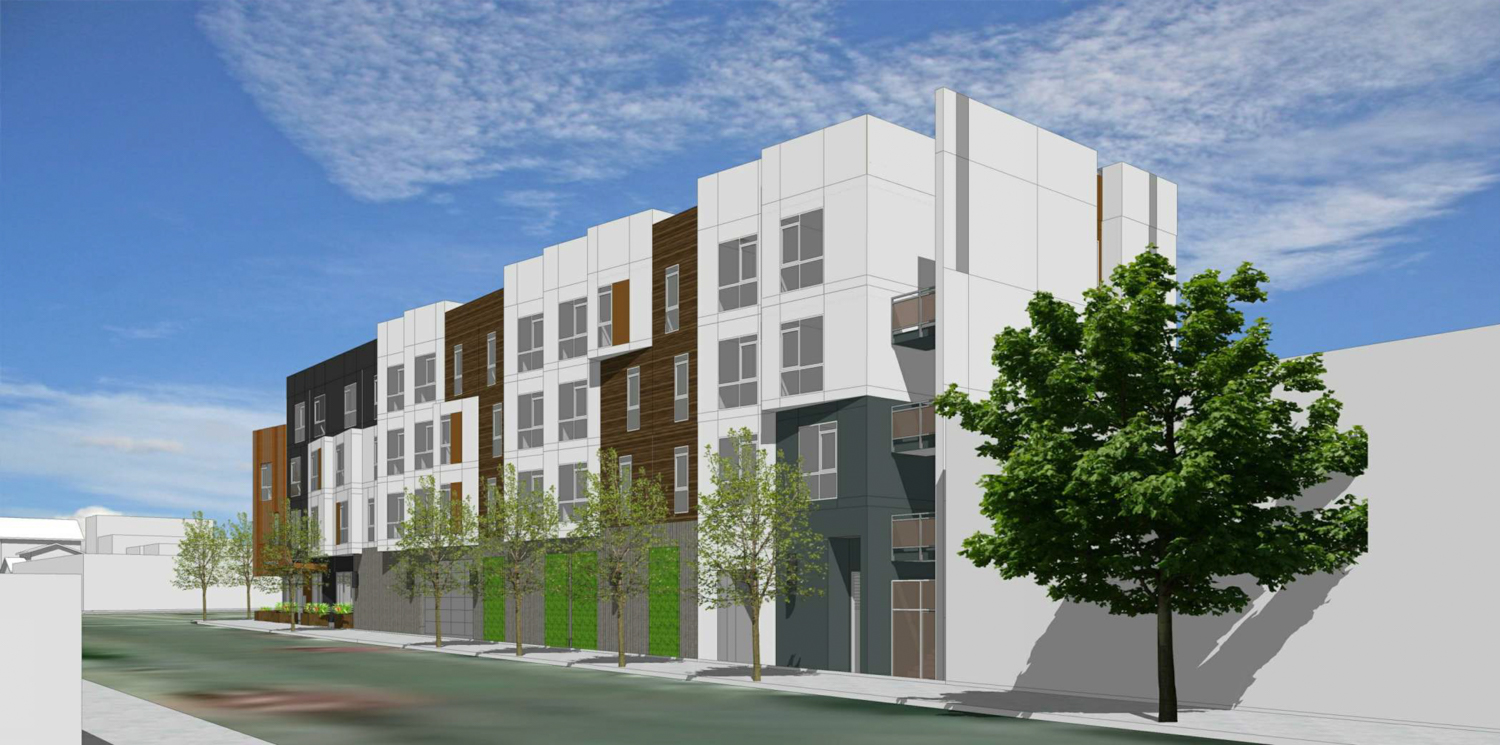 2372 International Boulevard view from the corner of Miller and 14th Street, rendering by HKIT Architects