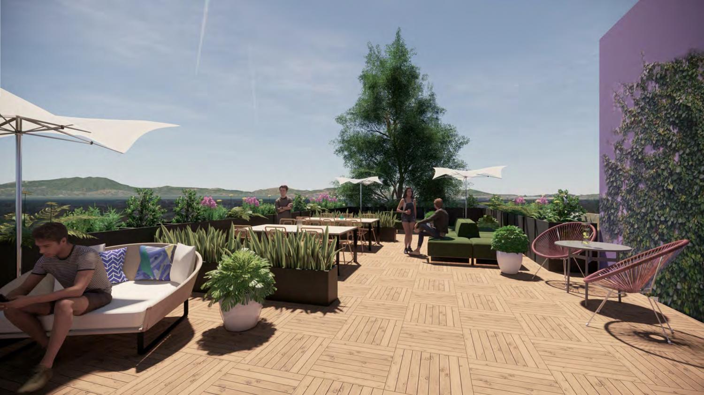 2435 San Pablo Avenue rooftop deck, rendering by Studio KDA
