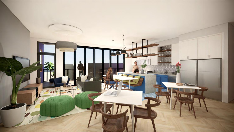 2435 San Pablo Avenue shared kitchen, rendering by Studio KDA