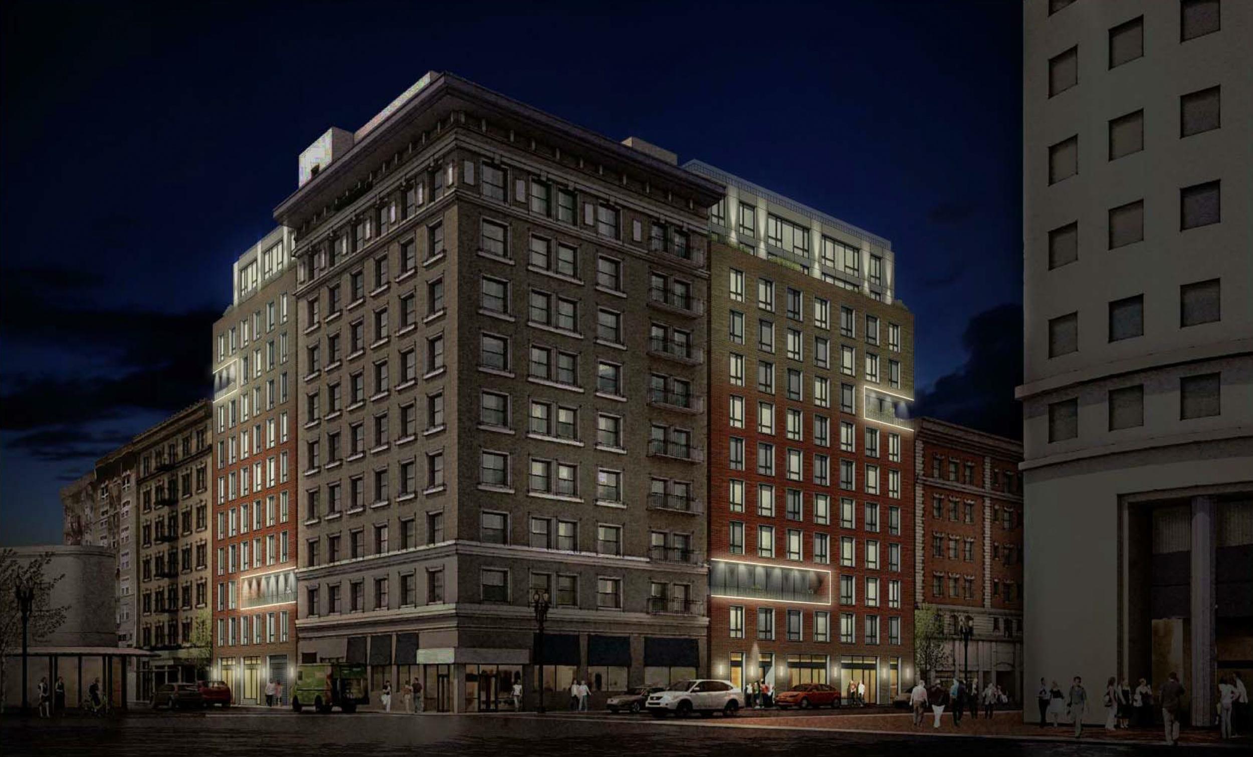 25 Mason Street evening lighting view, rendering by Arquitectonica