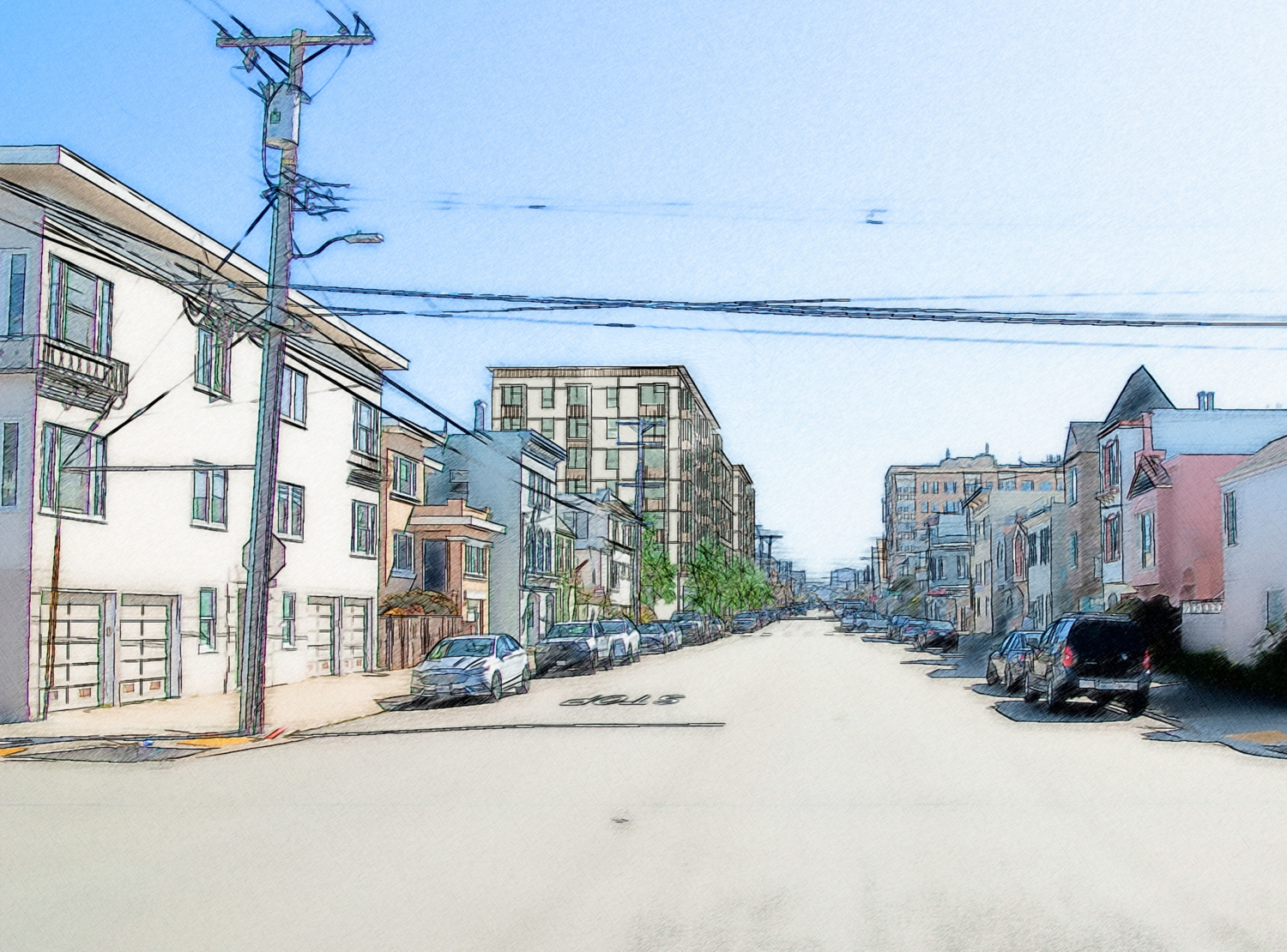 2550 Irving Street from Irving and 28th Avenue, rendering by Pyatok