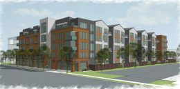 3150 El Camino Real view looking northeast, rendering by Sherry Scott Architects