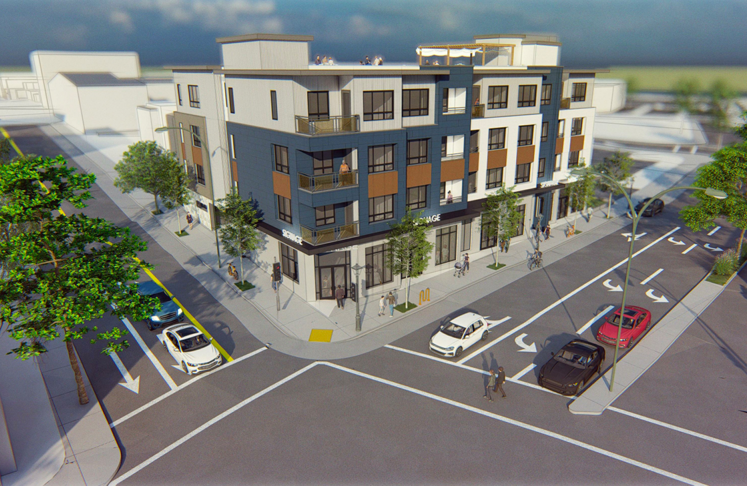 347 East 18th Street aerial perspective, rendering by Arris Studio Architects