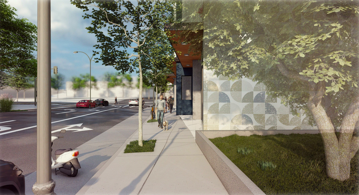 347 East 18th Street pedestrian view, rendering by Arris Studio Architects
