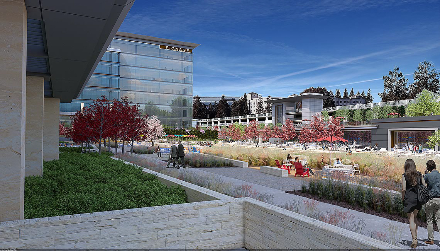 3625 Peterson Way amenity building and courtyard, rendering by ARC Tech