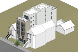 3832 18th Street aerial perspective, rendering via SIA Consulting