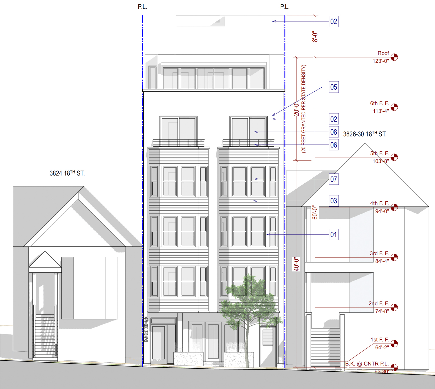 3832 18th Street frontal elevation, illustration by SIA Consulting