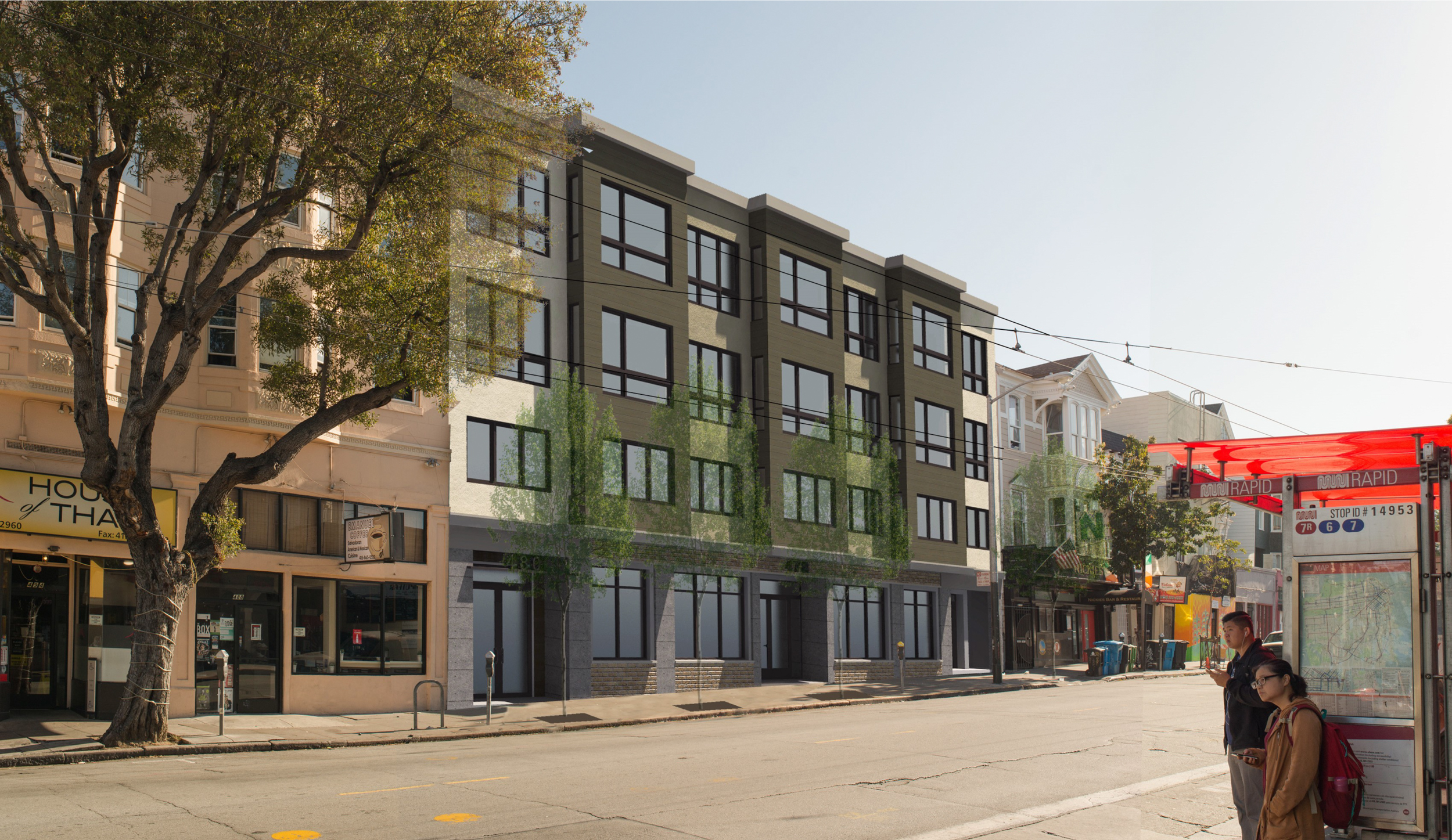 478-484 Haight Street looking northeast, rendering by Schaub Ly Architects
