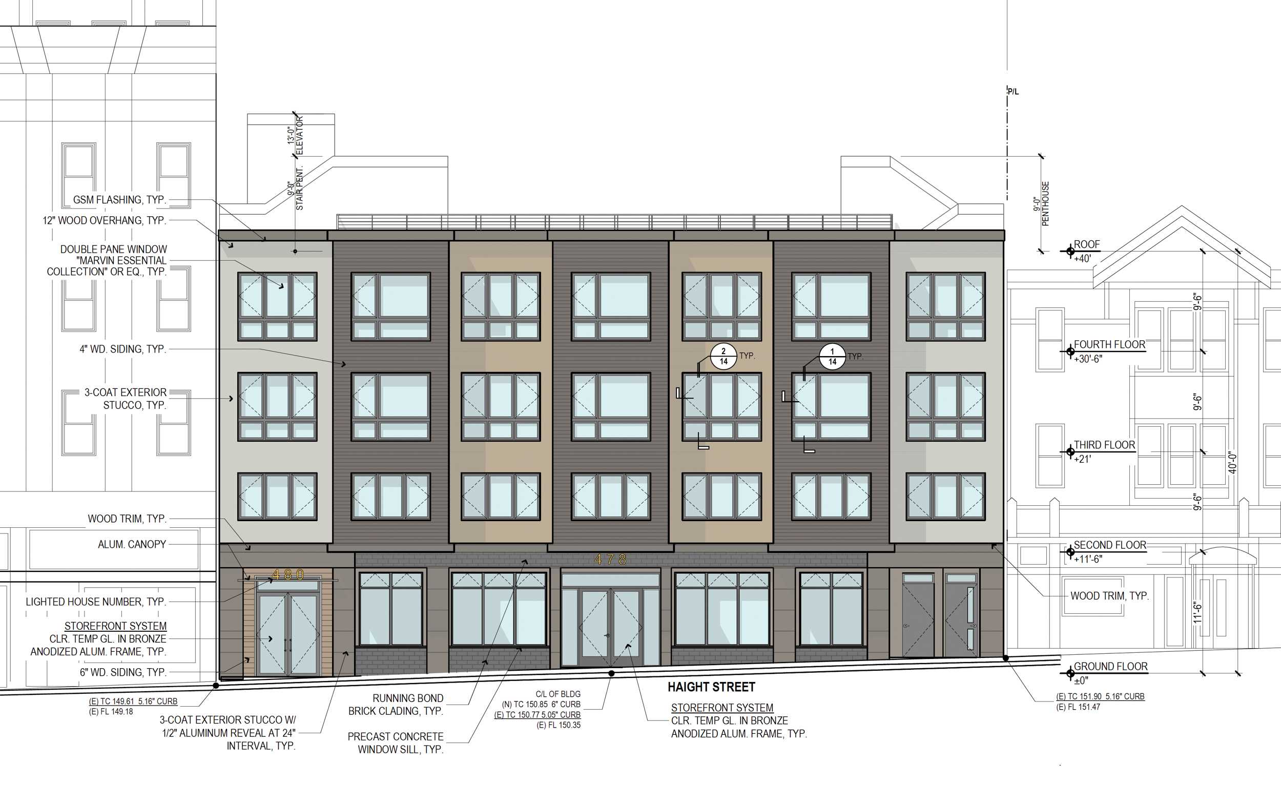 478-484 Haight Street vertical elevation, drawing by Schaub Ly Architects
