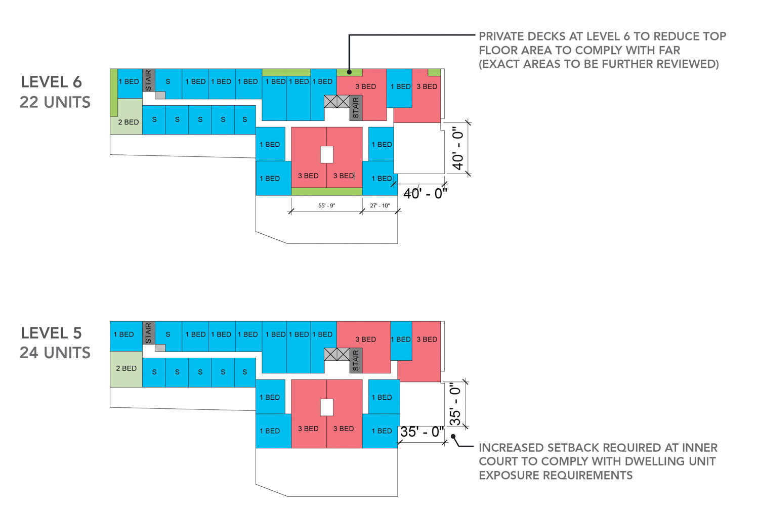55 Francisco Street fifth and sixth level floor plans, illustration from TEF Design