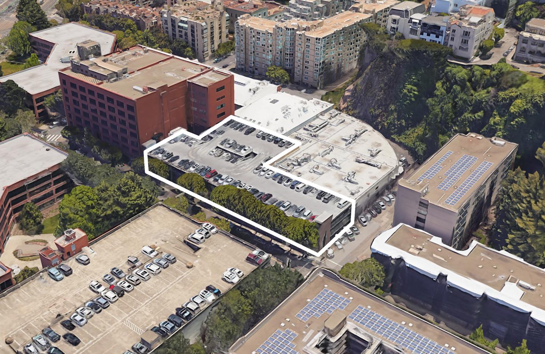 55 Francisco Street outlined, image via Google Satellite