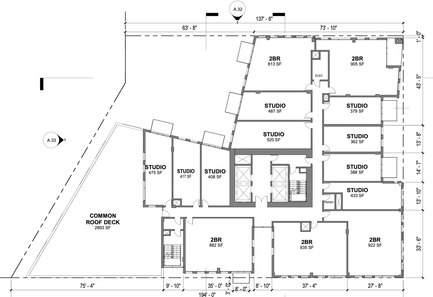 600 McAllister Street 8th level floor plan, drawing by David Baker Architects