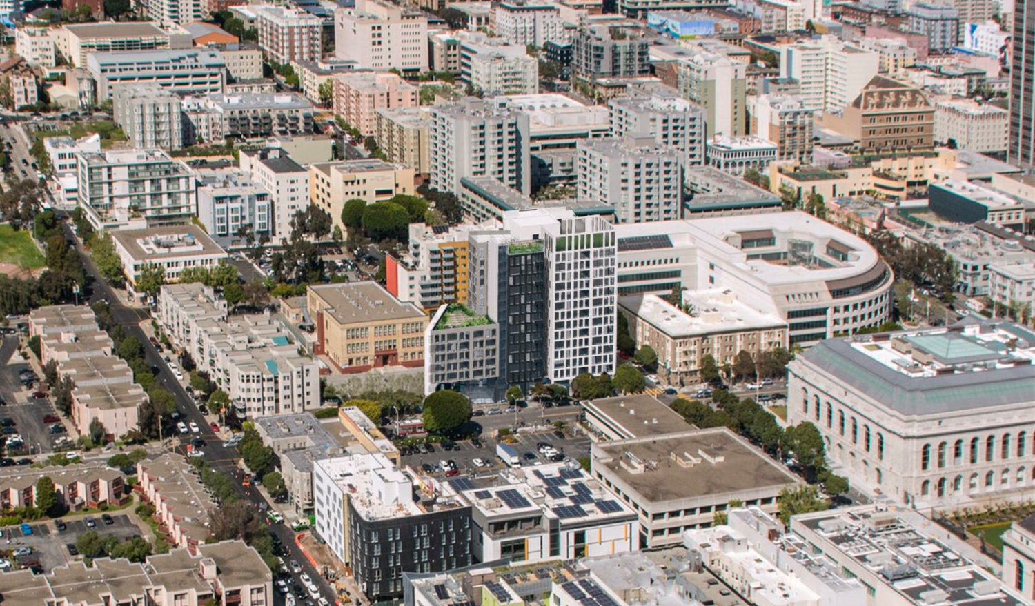 600 McAllister Street aerial view, rendering by David Baker Architects