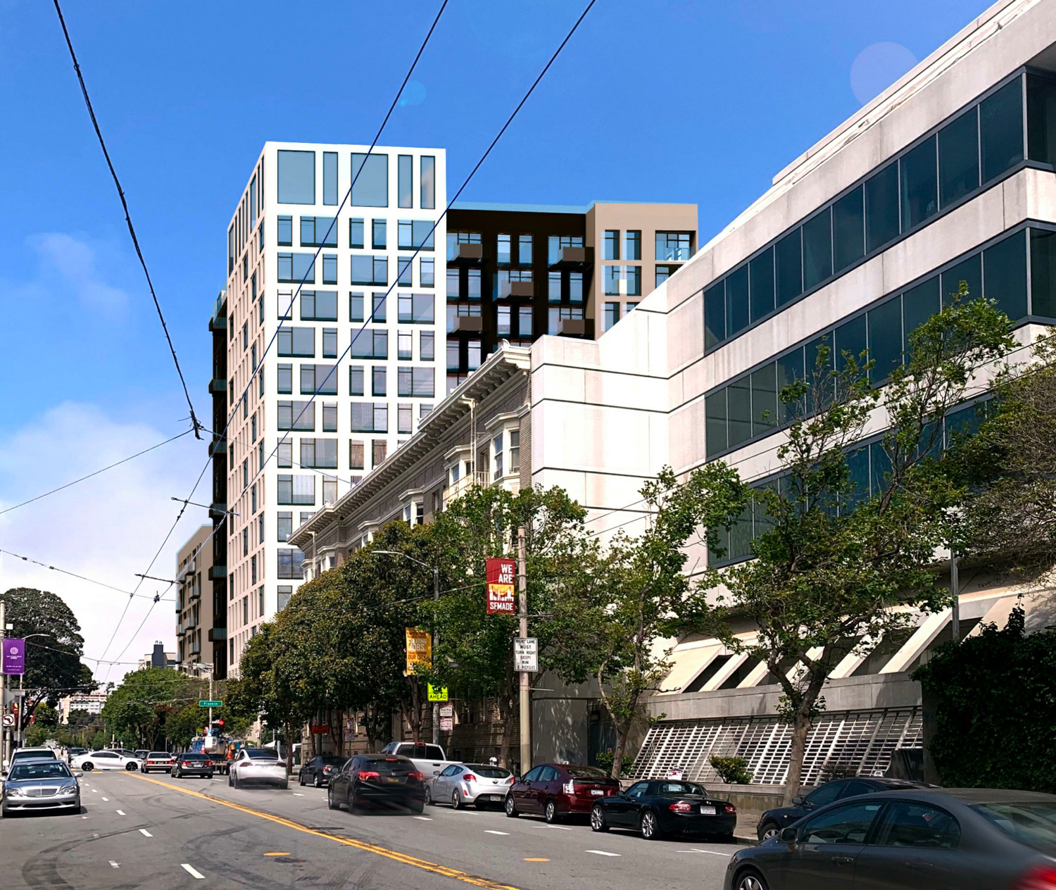 600 McAllister Street looking east, rendering by David Baker Architects