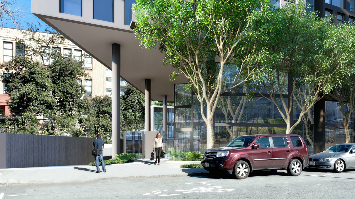 600 McAllister Street residential entry, rendering by David Baker Architects