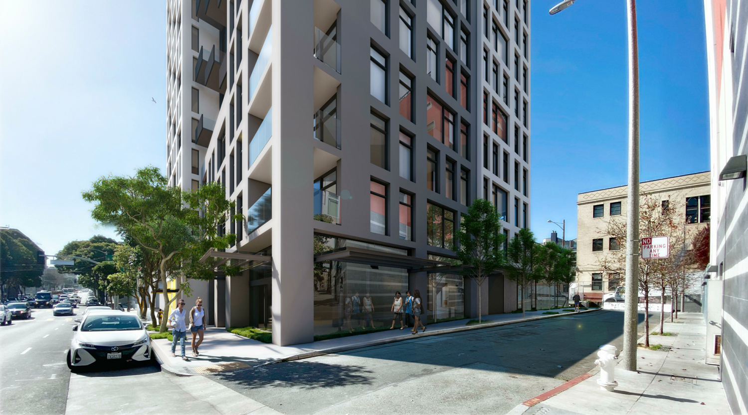 600 McAllister Street view at Franklin and Redwood, rendering by David Baker Architects